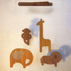Jungle Friends Mobile by Petit Collage: Laser cut of sustainably harvested bamboo. $68