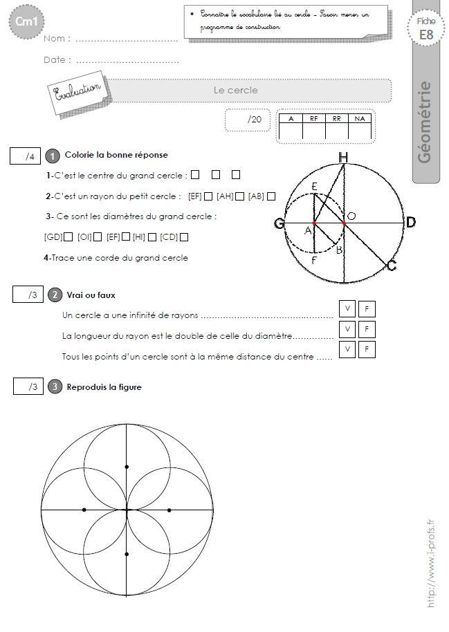 Cm1 Evaluation Le Cercle Cm1 Evaluation Cercle