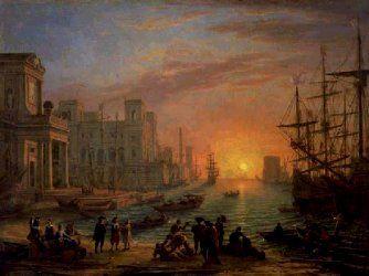 """Claude le lorrain. """"Port de mer soleil couchant"""" (1639) Suite aux oeuves de Poussin , on voit apparaitre des """"Veduta"""" Il est le maître par excellence du paysage classique, avec ses bâtiments antiques svt en ruines. Les personnages ne sont là que pour donner de la vie au paysage, inversion du sujet. Il n'y a pas d'histoire. Une ville de style italien. Le port est éclairé par la douce lumière du soleil couchant."""