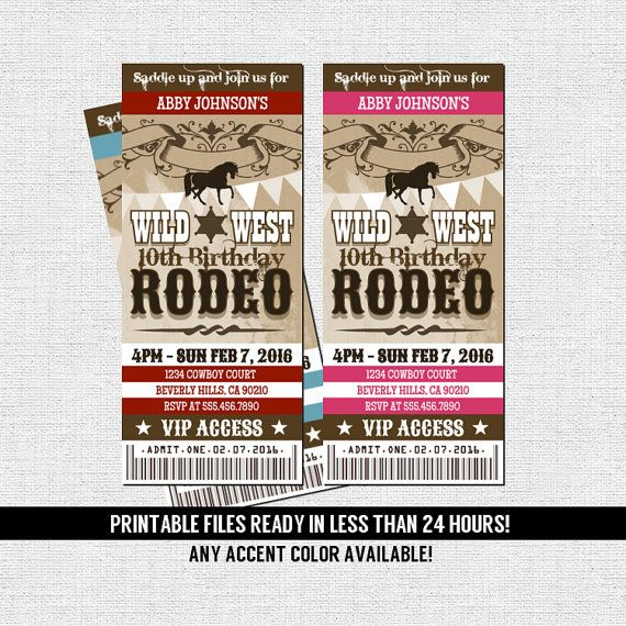 western rodeo ticket invitation birthday party cowboy