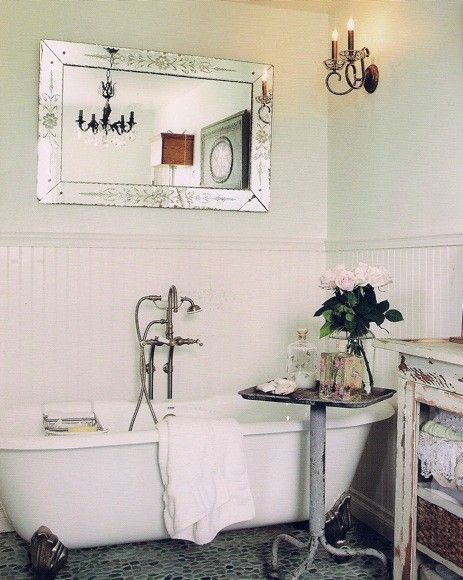 Vintage bathroom ... Cart ... Mirror above tub