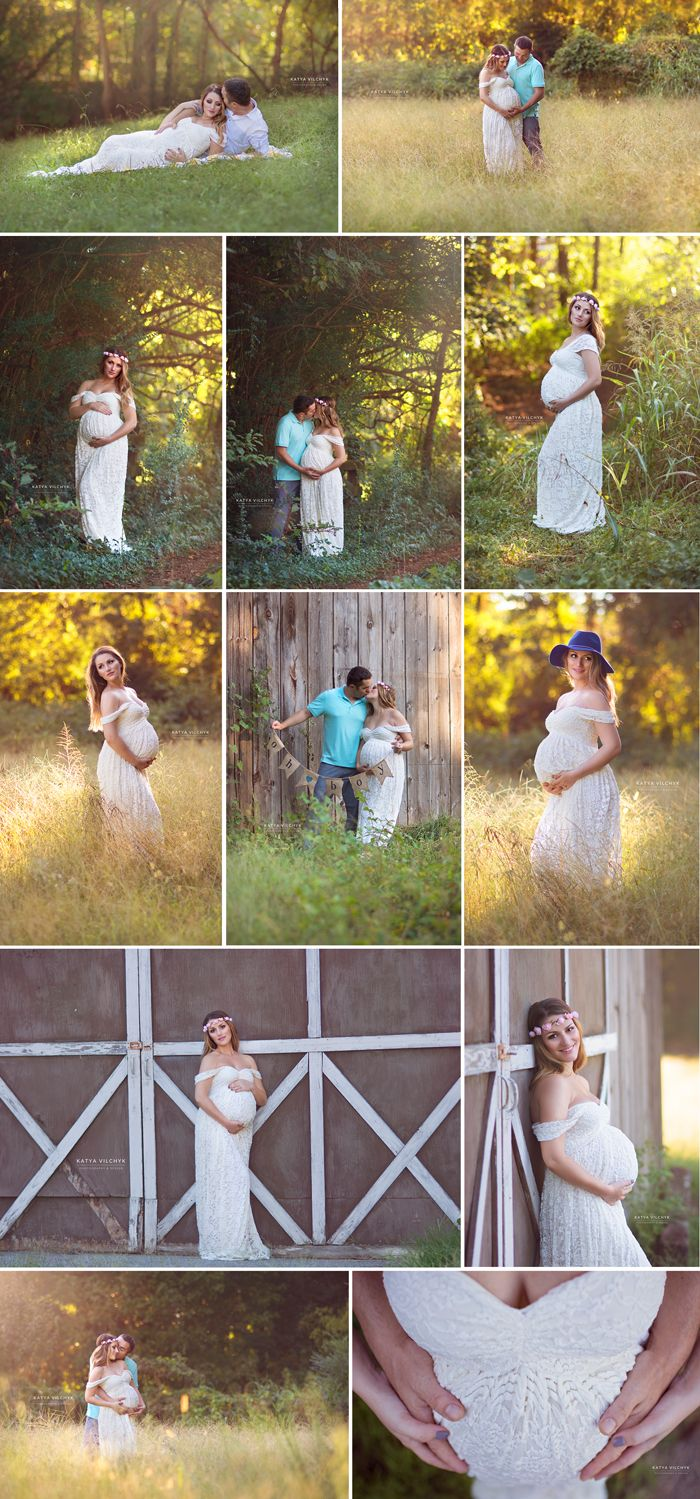Fall sunset outdoor maternity photosession in Roswell GA tall grass, barn, rustic, lace gown