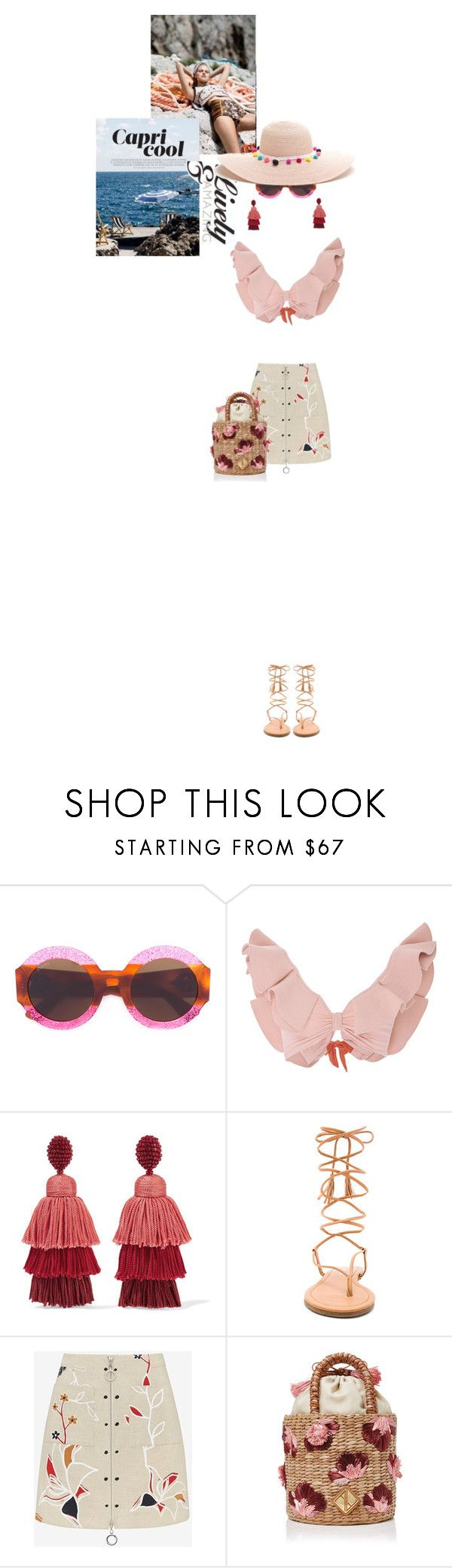 """Untitled #310"" by arees ❤ liked on Polyvore featuring Gucci, Johanna Ortiz, Oscar de la Renta, PilyQ, Edun and Aranáz"