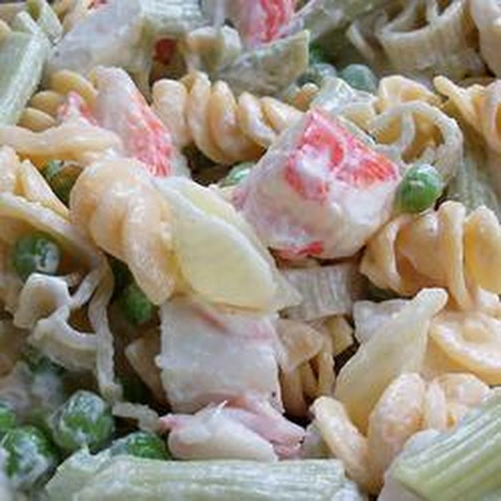 Colorful Seafood Pasta Salad Recipe Salads with pasta, celery, imitation crab meat, green peas, mayonnaise, splenda no calorie sweetener, white vinegar, milk, salt, ground black pepper
