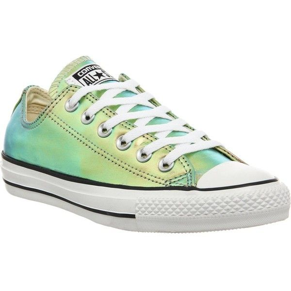 All star low-top iridescent leather trainers ($83) ❤ liked on Polyvore featuring shoes, sneakers, converse, gold iridescent, converse sneakers, lacing sneakers, low tops, converse trainers and leather low top sneakers