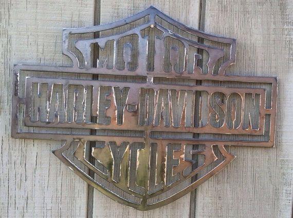 Harley Davidson Metal Sign By Secondhandmetalart On Etsy