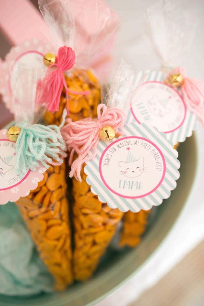Goldfish snack favors from a Kitty Cat Birthday Party on Kara's Party Ideas | KarasPartyIdeas.com (29)