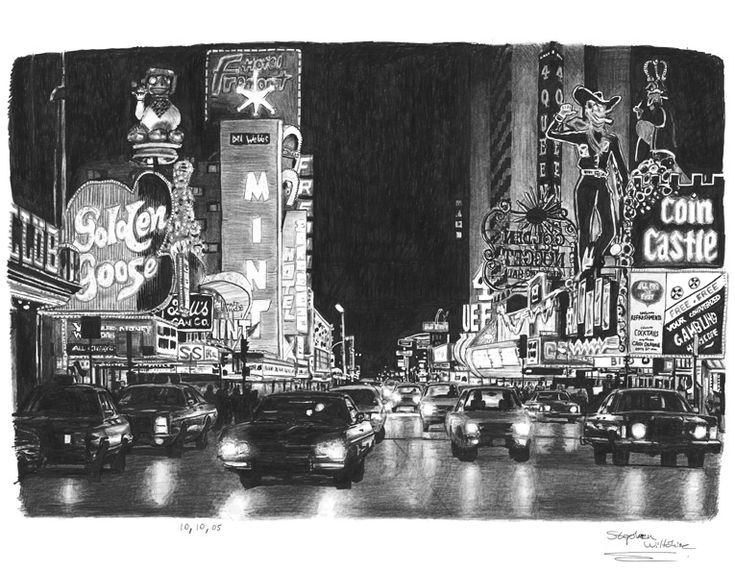 Stephen Wiltshire print: Las Vegas at night