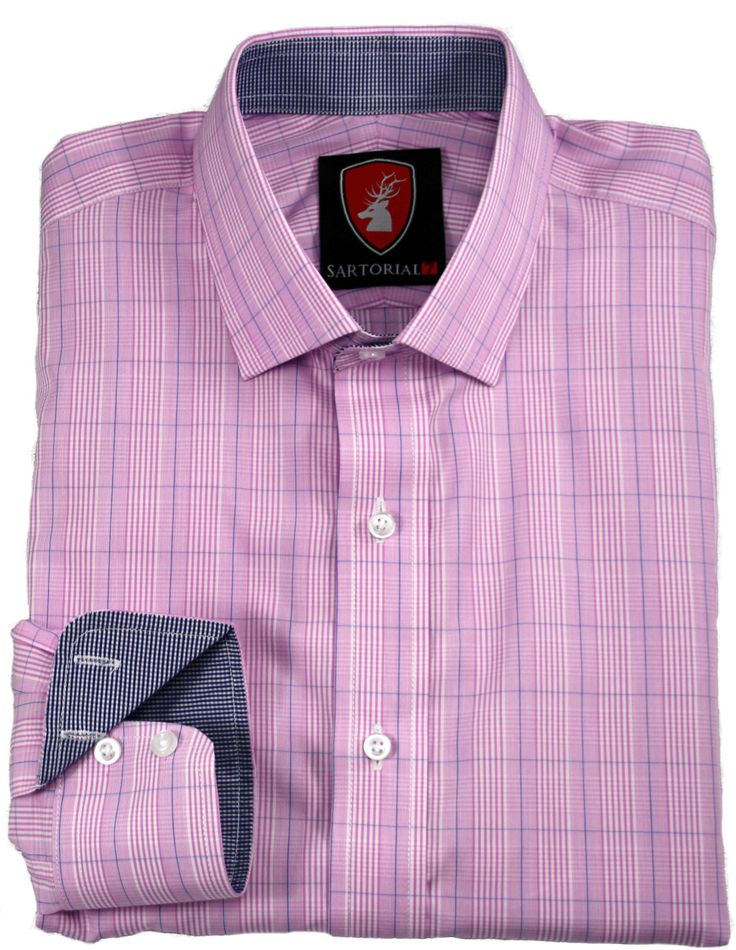 Pink check with blue crossed stripes. Blue and White small check lining.