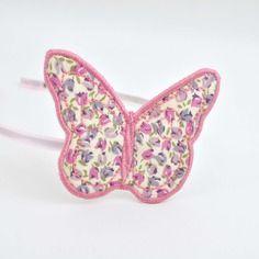 Serre-tête romantique, papillon, tissu liberty mauve et violine