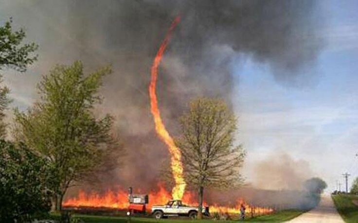 """A photo of a firenado that was captured last weekend in Chillicothe, Oklahoma is spinning its way across the internet. A producer of Weather Center Live on the Weather Channel tweeted the photo after a viewer sent it to him. However, Chillicothe Fire Chief Darrell Wright told KCTV5 News that he cannot verify the picture. 'We have searched our records and cannot match that road service type with any address we responded to,' Wright said."" Quoted from link"