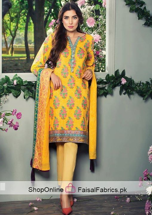 "Alkaram Studio "" 3 Piece Elegance Collection 2017"" SS-45-17- Gold 