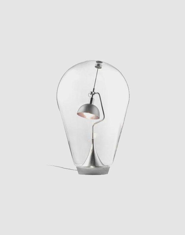269€ Candeeiro de mesa em vidro com base em aço | Entre Design