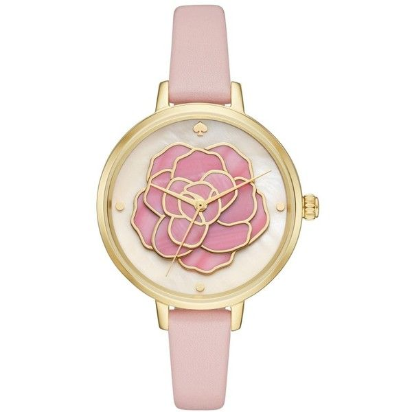 Women's Kate Spade New York 'Rose' Leather Strap Watch, 34Mm (280 CAD) ❤ liked on Polyvore featuring jewelry, watches, kate spade watches, rose golden watches, kate spade jewelry, rose watches and rose jewelry