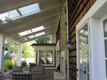 outdoor spa on porch | Covered Porch and Spa area traditional patio