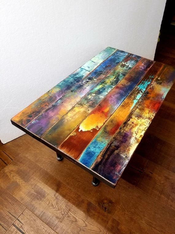 Colorful Coffee Table Top From Trashstudio Is Made With Reclaimed