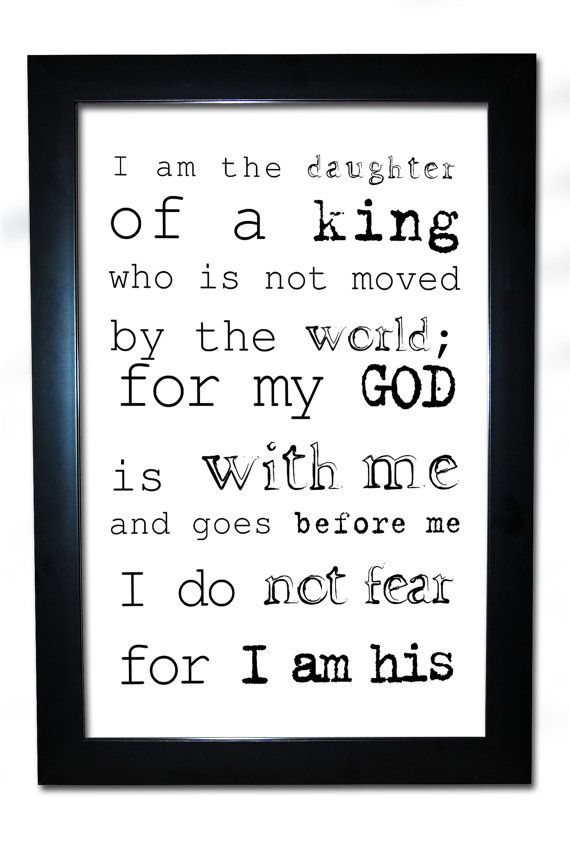 daughter of god king quote spiritual christian faith christ higher power 13x19 inspiration young woman frame