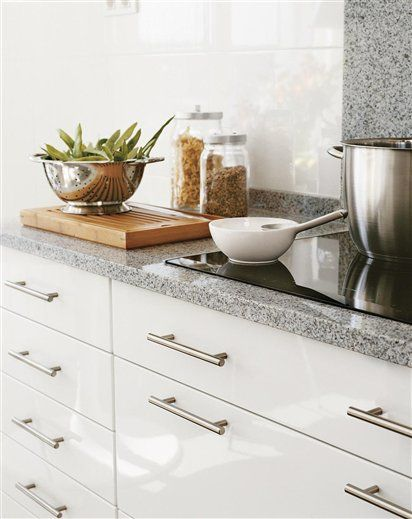white kitchen - grey granite