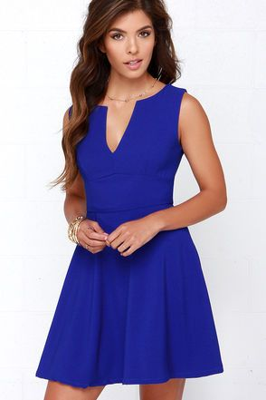 Sure forever is a long time, but you'll want every minute of it spent with the For All Time Cobalt Blue Dress! This lightly textured woven poly dress is chic and sleek, with a sleeveless cut, notched V-neckline, and set-in waist composing the fitted bodice. The full and flaring skater skirt is a sweet addition to the look! Hidden back zipper with clasp. Fully lined. 100% Polyester. Hand Wash Cold. Imported.