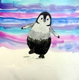 Who doesn't love a happy penguin? This class learned so many things about these adorable birds and how to draw them and blend oil pastels. We also painted wonderful backgrounds with watercolor washes.