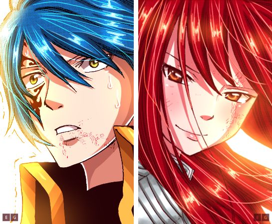 Erza and Jellal by ElieGlory3173.deviantart.com on @DeviantArt