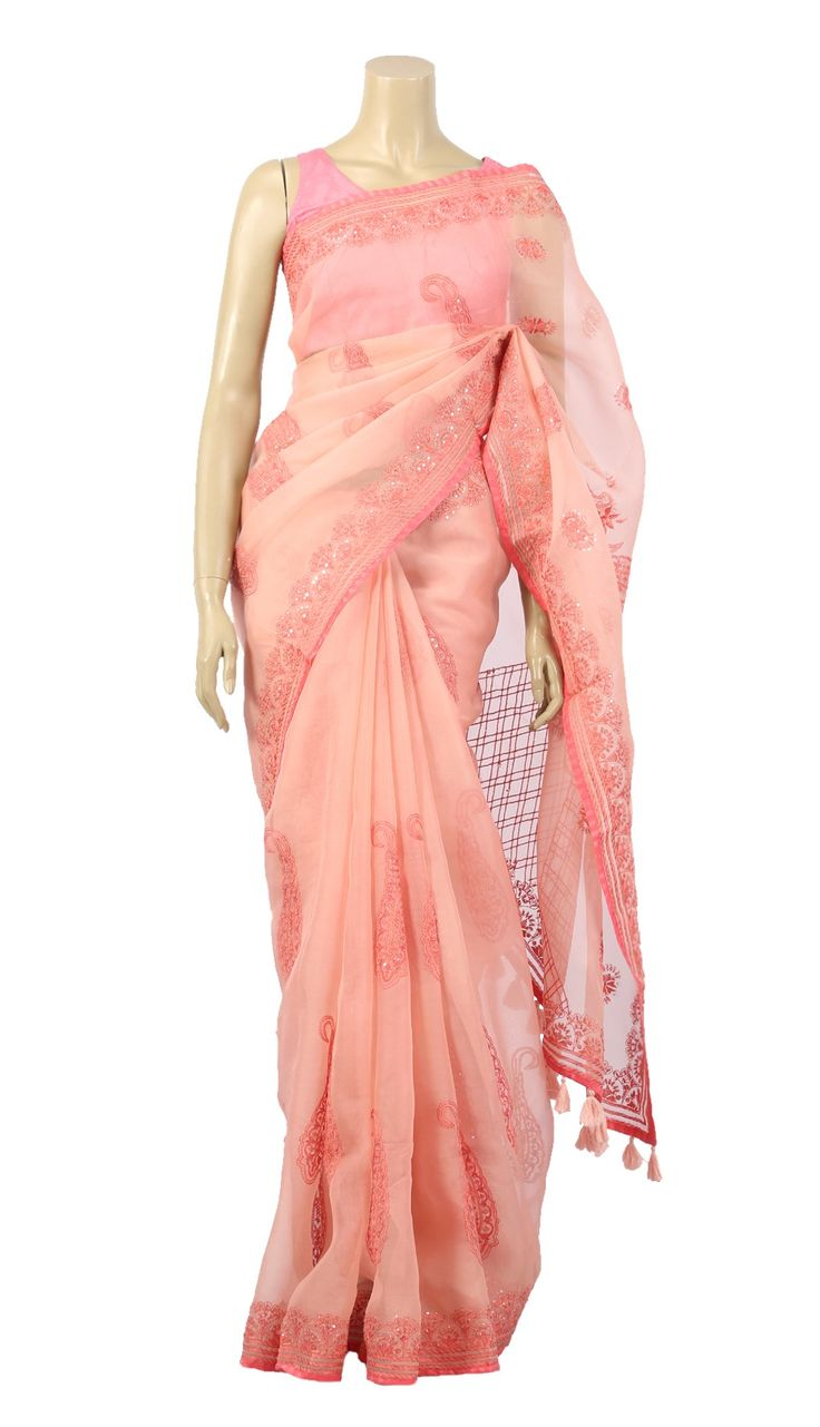Pastel Pink Hand Embroidered Muslin Saree