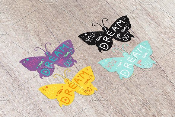 Motivation Lettering In Butterfly by barsrsind on @creativemarket