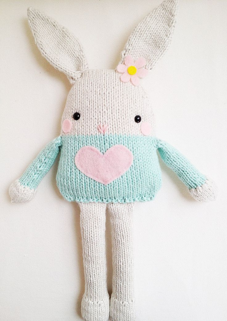 Bunny Knitting Pattern - Toy Easter Bunny Softie Pattern - PDF