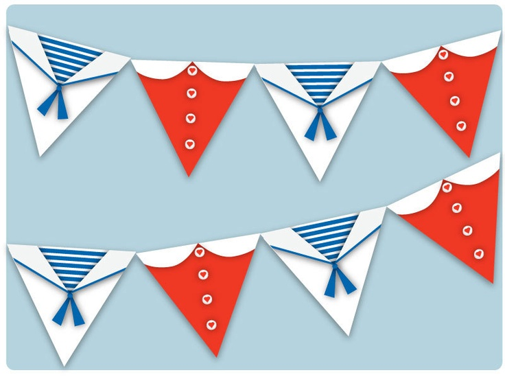 Bunting Red White and Blue Sailor Navy Theme Party  or Bedroom Decoration,  Boys and Girls