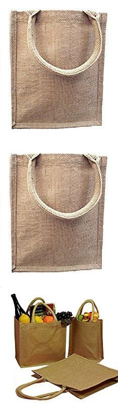 Jute Shopping Bags. (Pack of 12) Jute / Burlap Tote Bags Soft Cotton Handles Laminated Interior (Small, Natural). #jute #shopping #bags #juteshopping #shoppingbags