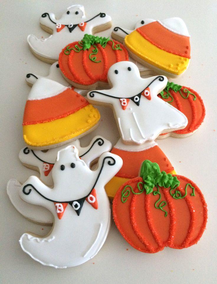 Halloween, ghost, pumpkin, candy corn cookies