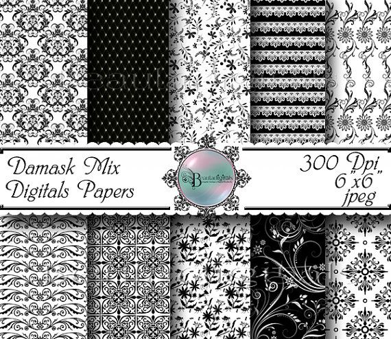 Damask Mix  Digital Papers  Black and White  by Beauladigitals