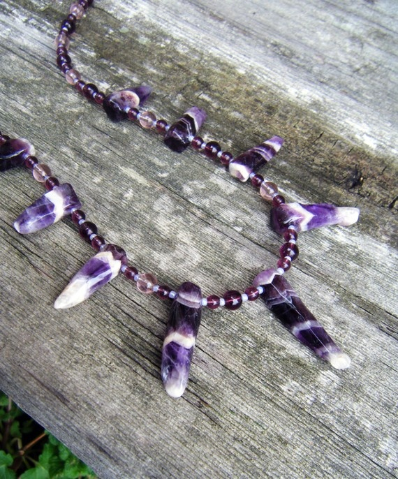 Amethyst Gemstone Necklace with Purple Glass Beads by ElfRenee, $30.00