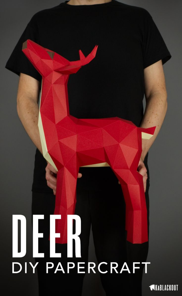 Papercraft Deer Template | DIY Deer Craft Project | Low Poly Deer | Make your own beautiful little papercraft deer stag, perfect Christmas Decor from KaBlackout