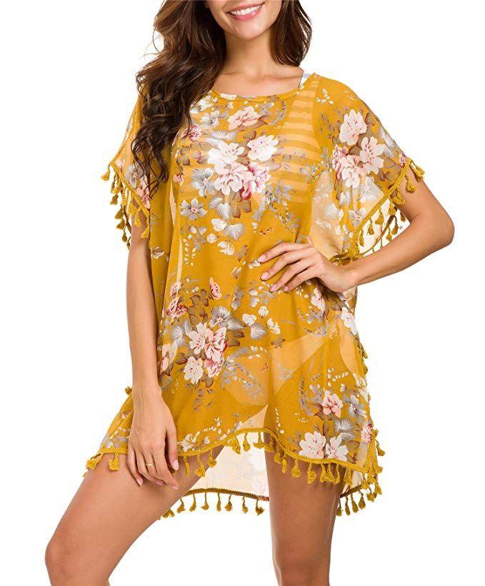 8fc6eae601 Taydey Women's Stylish Chiffon Tassel Beachwear Bikini Swimsuit Cover up