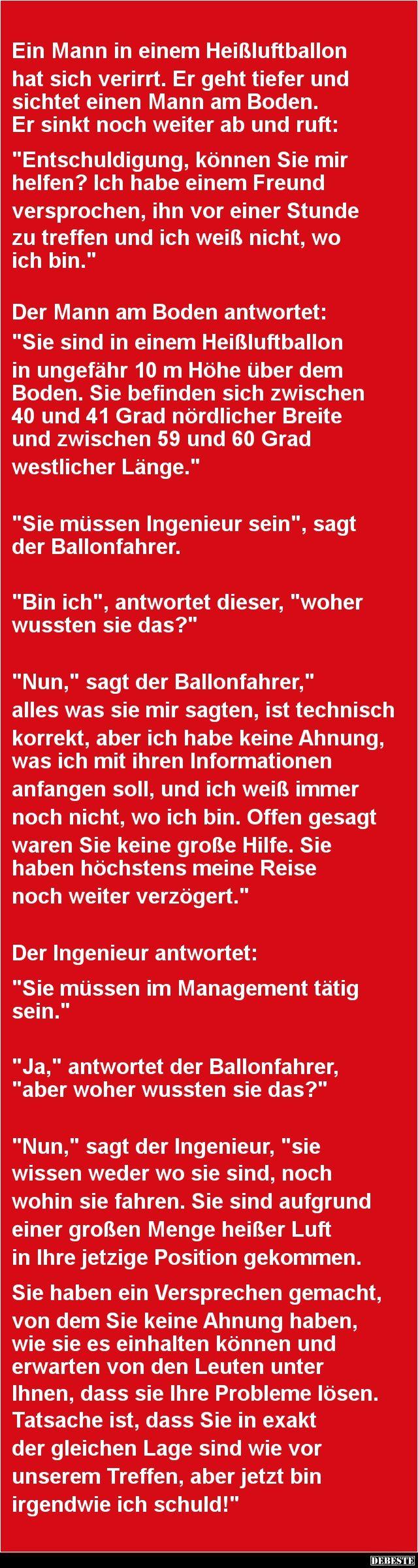 Ein Mann in einem Heißluftballon hat sich verirrt | DEBESTE.de, Lustige Bilder, Sprüche, Witze und Videos