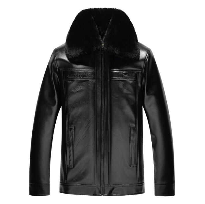 26395ebb8a2 Turn-down collar plus velvet thickening business casual winter motorcycle  leather jacket men jaqueta de