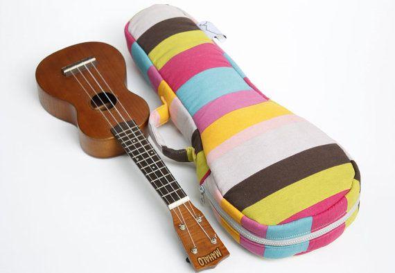 Soprano ukulele case - Colourful Pop - Colourful stripe Ukulele Case ( Made to order)