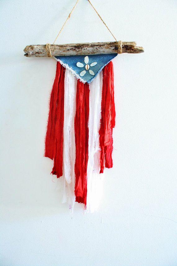 Puerto Rican Natural Driftwood Flag with Sea by GitanaDeLaPlaya, $21.00