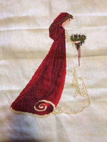 cross stitch conversions, lavender and lace celtic lady red hood