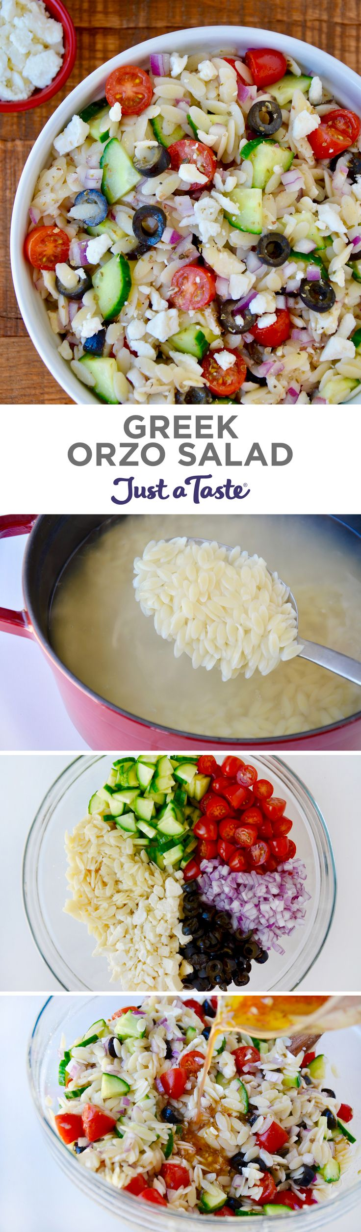 Greek Orzo Salad recipe from justataste.com #recipe #summer @justataste