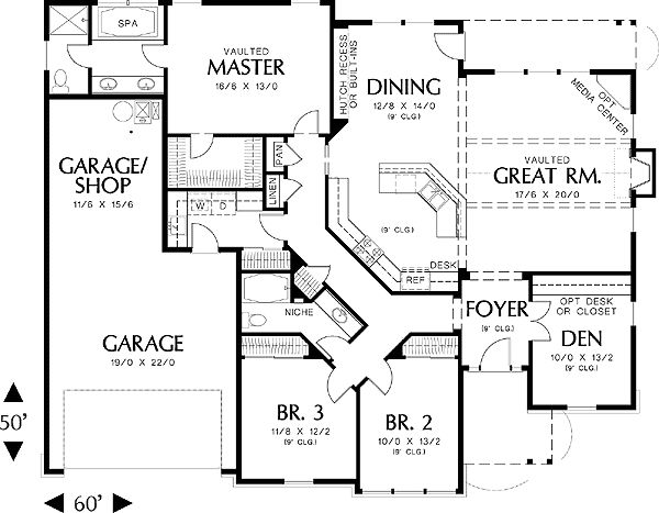 14 best images about house plans on pinterest for 3 bedroom 2 bath 2 car garage floor plans