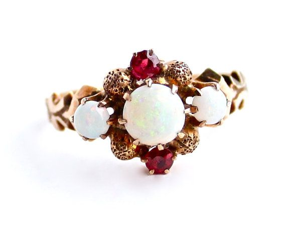 Antique 10K Gold Opal & Ruby Red Stone Ring Fine Jewelry  by MaejeanVINT