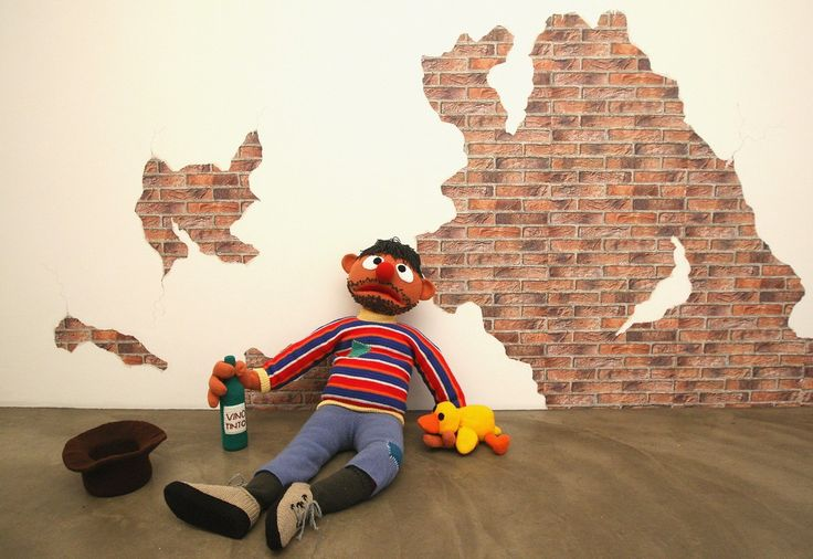 """The knitted sculpture """"Ernie"""" by Patricia Waller"""