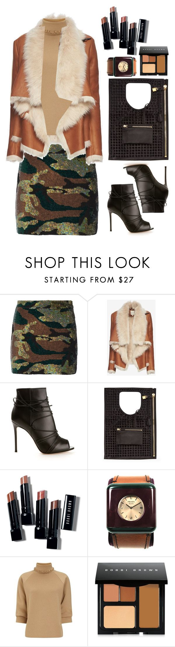 """Ashish Camouflage-sequined silk-georgette mini skirt"" by thestyleartisan ❤ liked on Polyvore featuring Ashish, Mason by Michelle Mason, Gianvito Rossi, Bobbi Brown Cosmetics, Prada and J.W. Anderson"