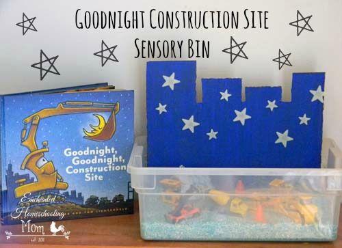 Goodnight+Construction+Site+Sensory+Bin+|+Enchanted+Homeschooling+Mom+| Enchanted+Homeschooling+Mom+