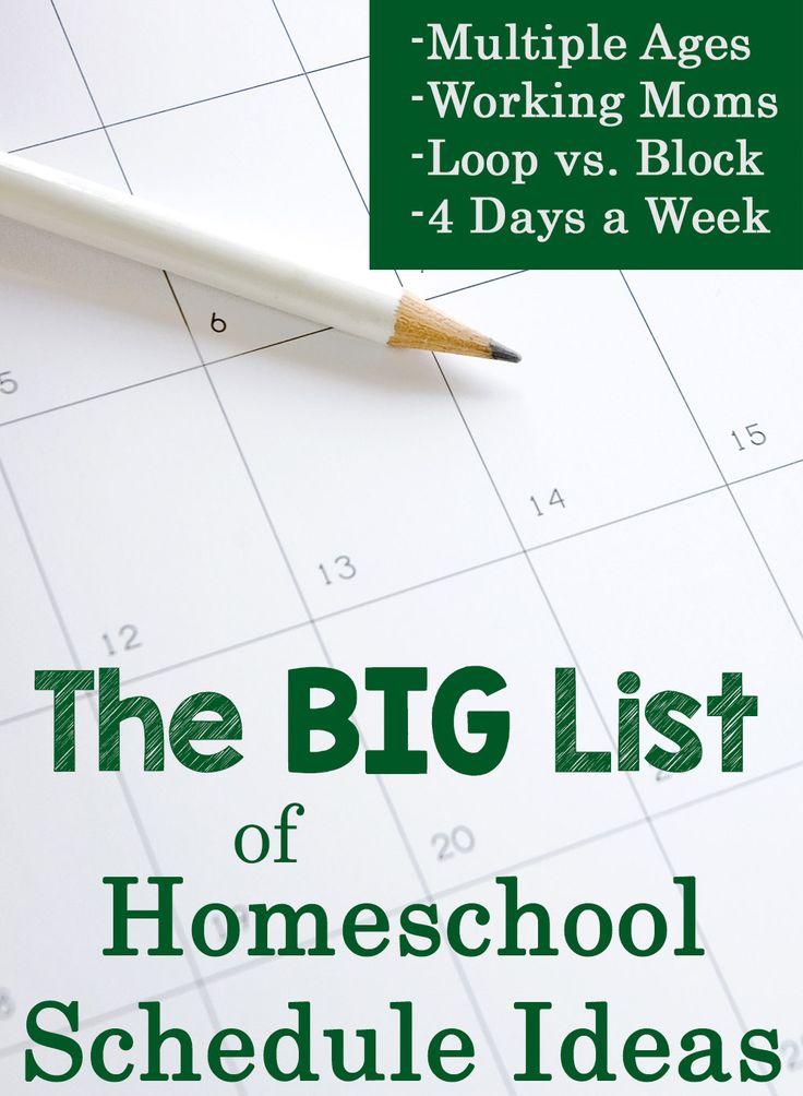 The BIG List of Homeschool Schedule Ideas!