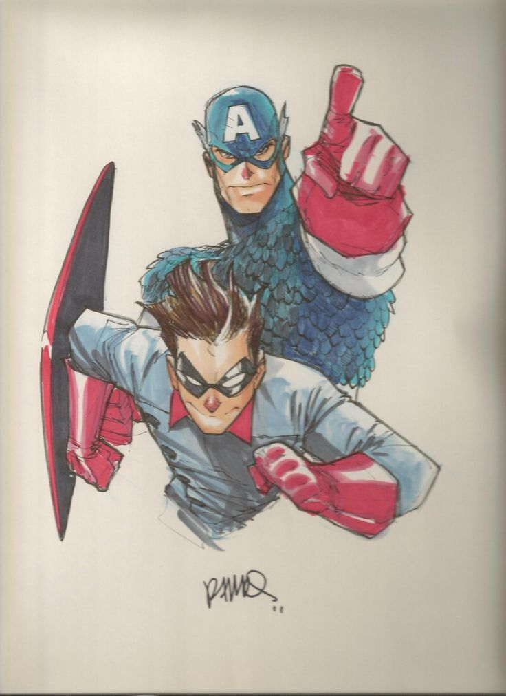 Captain America and Bucky Barnes as rendered by Humberto Ramos