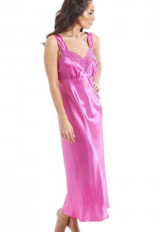 1cd4221b21 Camille Luxury Long Pink Lace Satin Chemise