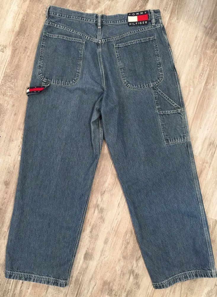 2d092e6fa68 Vintage Tommy Hilfiger Carpenter Jeans Women/Junior SZ 15 Spellout Flag  Logo L #TommyHilfiger #Carpenter